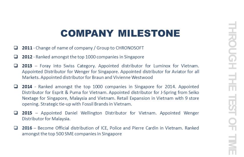 Company Milestone || Chronosoft Watch Group